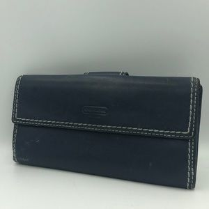 Navy blue coach leather wallet
